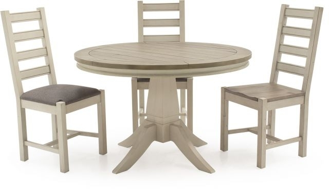 Vida Living Craft Grey And Ivory Painted Round 1.2 Dining Table And Within Ivory Painted Dining Tables (Photo 14 of 25)