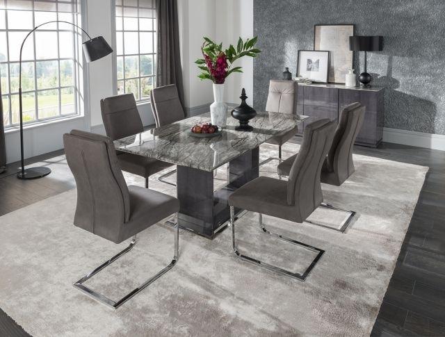 Vida Living Donatella 1.6 Marble Dining Table And 6 Grey Donatella intended for Dining Tables Grey Chairs