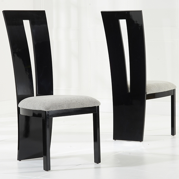 Vienna Black Gloss Dining Chairs Pair – Robson Furniture Throughout Black Gloss Dining Sets (Image 24 of 25)