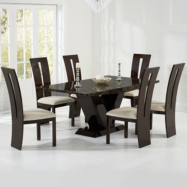 Vienna Brown Marble Dining Table - Robson Furniture intended for Vienna Dining Tables
