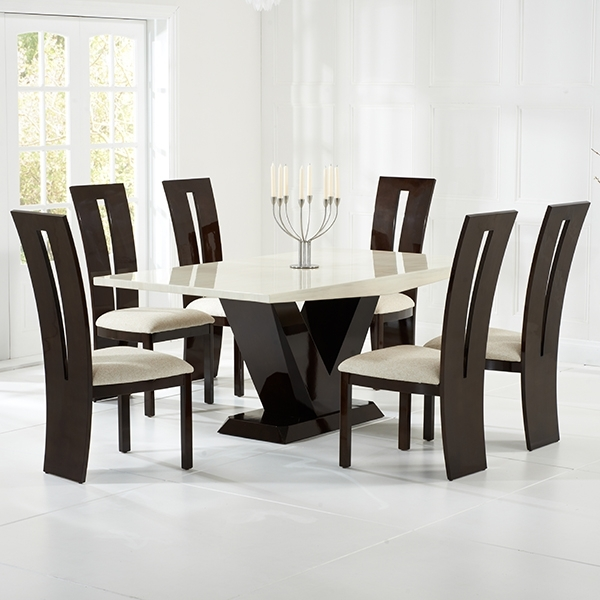Vienna Cream And Brown Marble Dining Table – Robson Furniture Regarding Vienna Dining Tables (View 13 of 25)