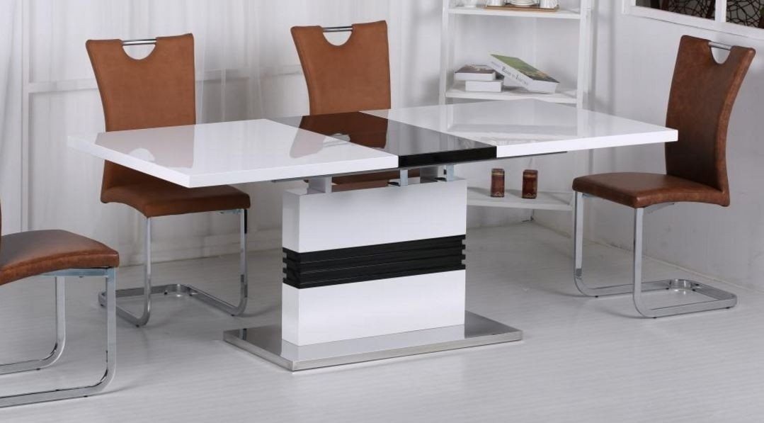 Vienna White And Black High Gloss Extending Dining Table within Vienna Dining Tables