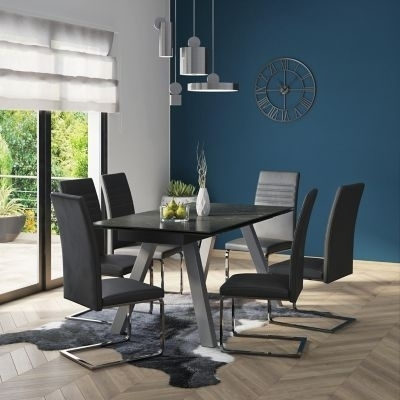 Vieux Extending Dining Table & 6 Alcora Chairs – Bonsoon For Alcora Dining Chairs (View 13 of 25)