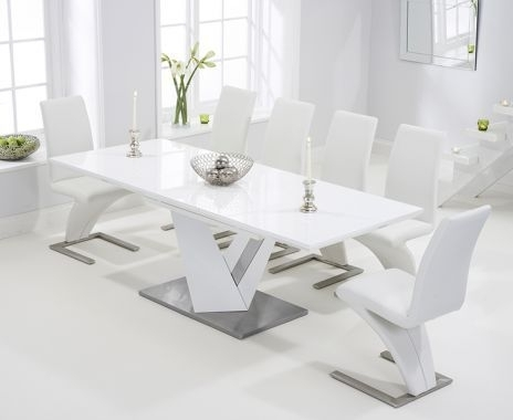 View Large Image Of Harmony 160Cm White High Gloss Extending Dining for Black Gloss Extending Dining Tables