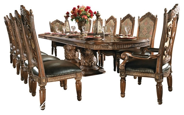 Villa Valencia 15 Piece Rectangular Dining Room Set – Victorian For Valencia 72 Inch Extension Trestle Dining Tables (View 20 of 25)