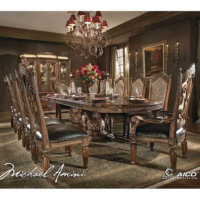 Villa Valencia Rectangular Dining Room Set Aico Furniture, 1 Reviews With Valencia 5 Piece Round Dining Sets With Uph Seat Side Chairs (View 7 of 25)