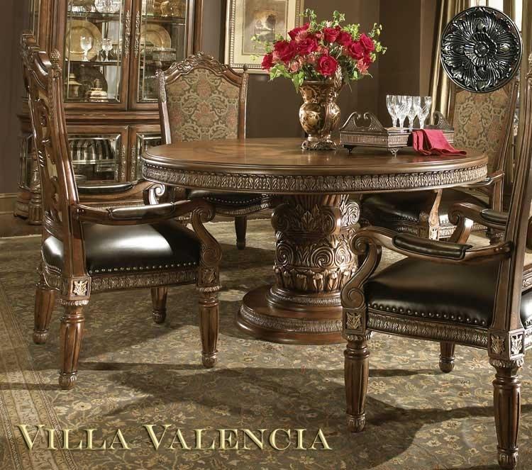 Villa Valencia Round Table Diningaico | Aico Dining Room Furniture Pertaining To Valencia 5 Piece 60 Inch Round Dining Sets (Image 25 of 25)