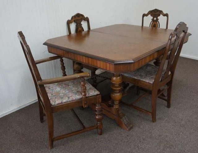 "Vintage 1920's 1930's ""butterfly Leaf"" Mahogany Dining Table With 4 Regarding Mahogany Dining Tables And 4 Chairs (Image 25 of 25)"