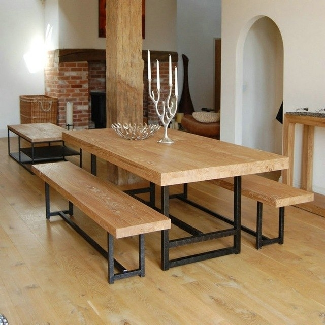 Vintage American Wood Dining Tables And Chairs, Wrought Iron Chairs Throughout Long Dining Tables (Image 23 of 25)