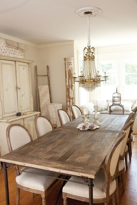 Vintage Cottage Chic Dining Room With Country French Dining Chairs For Helms 6 Piece Rectangle Dining Sets With Side Chairs (View 18 of 25)