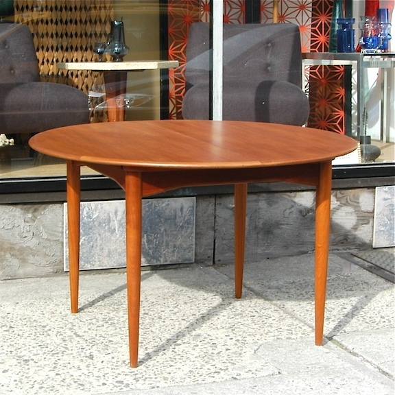 Vintage Danish Modern Round Teak Dining Table | Cityfoundry Throughout Round Teak Dining Tables (Image 25 of 25)