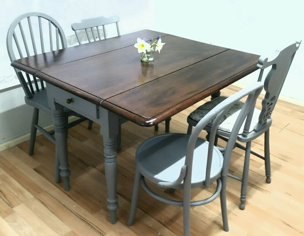 Vintage Drop Leaf Dining Table 4 Chairs Extending Victorian Rustic within Shabby Chic Extendable Dining Tables