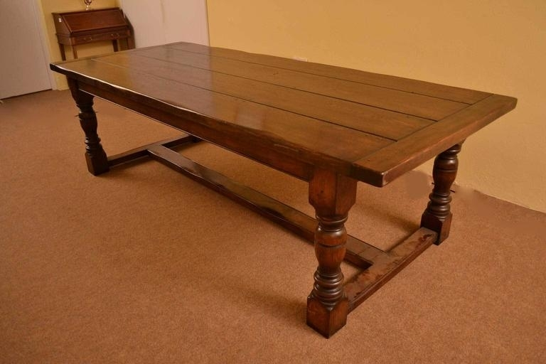 Vintage English Solid Oak Refectory Dining Table 8 Ft 6 X 3Ft At 1Stdibs within 3Ft Dining Tables