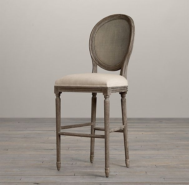 Vintage French Cane Back Round Upholstered Barstool Burnt Oak | Bar Regarding Laurent 7 Piece Counter Sets With Wood Counterstools (Image 25 of 25)