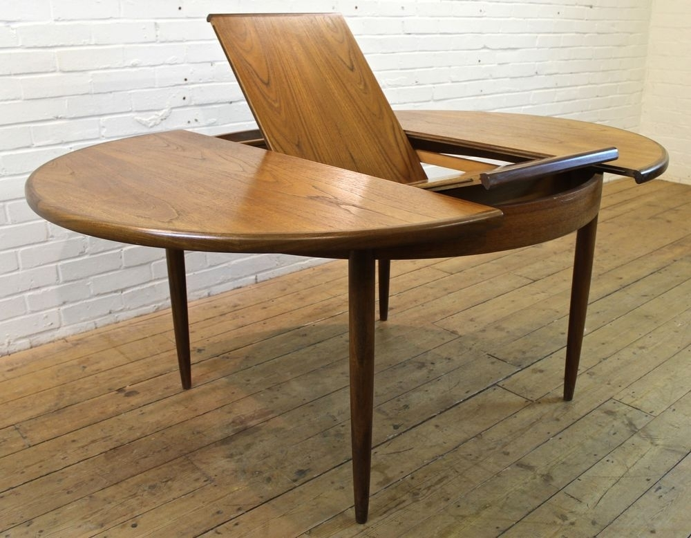 Vintage G Plan Fresco Teak Round Extending To Oval Dining Table Inside Round Dining Tables Extends To Oval (Image 25 of 25)