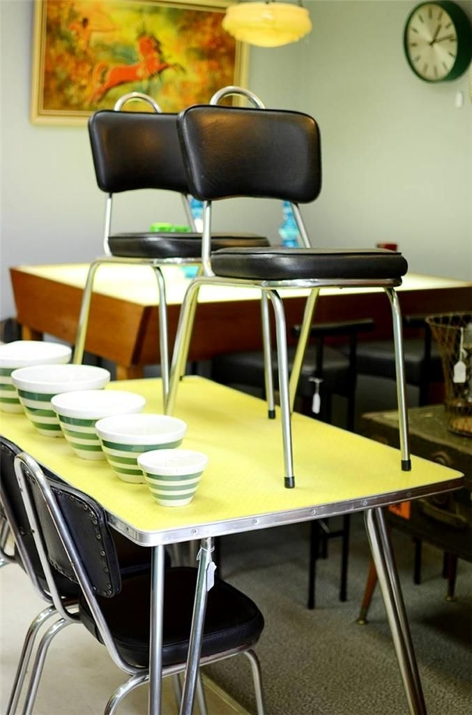 Vintage Laminex Formica Dining Suite Retro Table Chairs 1950S 1960S inside Ebay Dining Suites