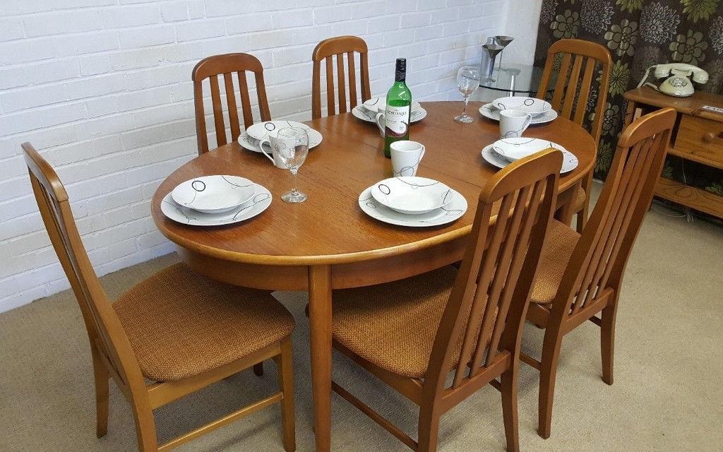 Vintage Retro 70's Danish Style Jentique Extending Dining Table & 6 Regarding Danish Style Dining Tables (View 15 of 25)