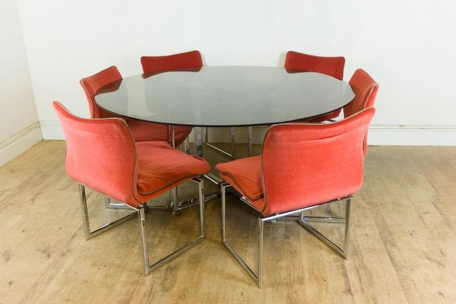 Vintage Retro Pieff Glass And Chrome Dining Table And 6 Chairs Throughout Retro Glass Dining Tables And Chairs (Photo 4 of 25)