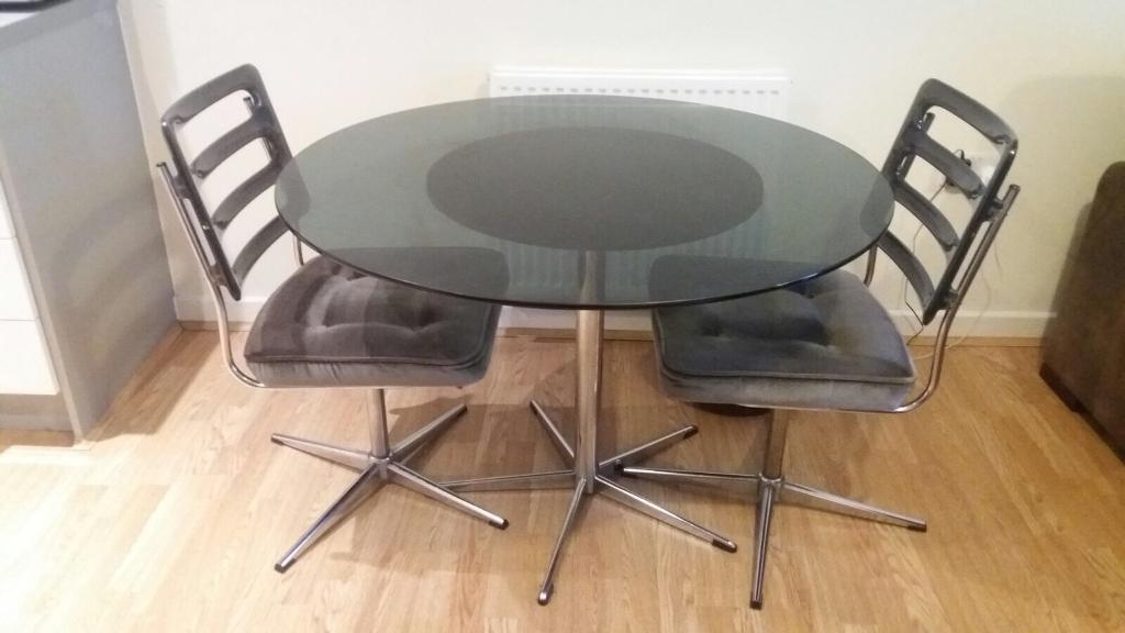 Vintage Retro Round Dining Set Round Glass Table 2 Revolving Chairs Throughout Retro Glass Dining Tables And Chairs (Photo 6 of 25)