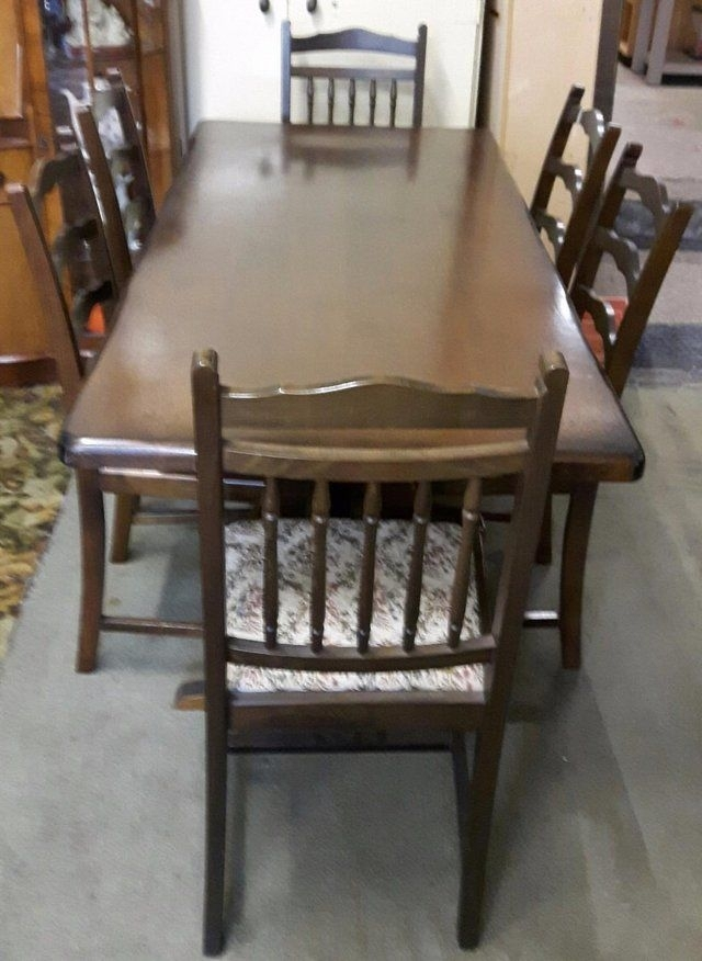 Vintage Solid Oak Dining Table With Six Chairs For Sale In Dewsbury intended for Second Hand Oak Dining Chairs