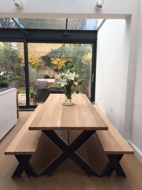 Vintage Steel And Oak Dining Table And Bench Set With Powder Coated intended for Oak 6 Seater Dining Tables