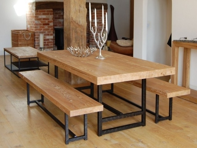 Vintage Wooden Dining Table And Chairs Three Piece Solid Wood Patio For Iron And Wood Dining Tables (Image 20 of 25)