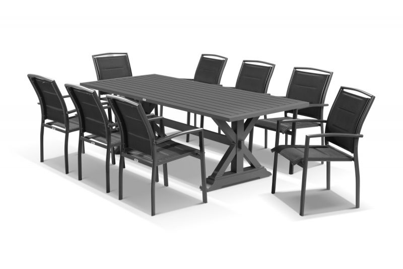 Vogue 9Pc Dining Setting - 220X100 Table With 8 Verde Dining Chairs with Vogue Dining Tables