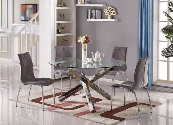 Vogue Large Round Chrome Glass Dining Table | Furniturebox in Vogue Dining Tables