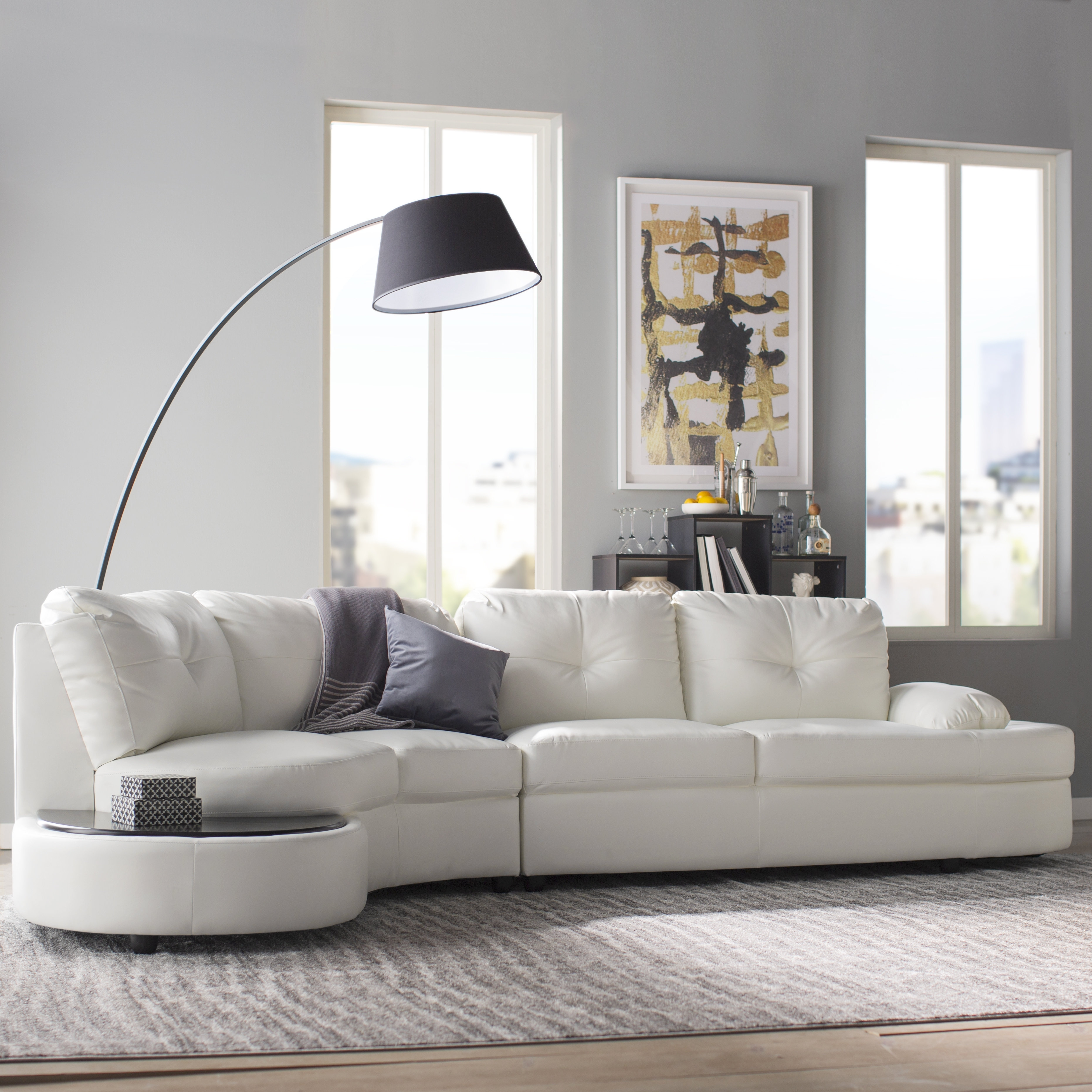 Wade Logan Bireuen Sectional & Reviews | Wayfair Throughout Declan 3 Piece Power Reclining Sectionals With Right Facing Console Loveseat (Image 25 of 25)