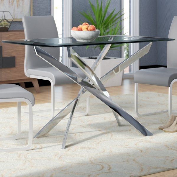 Wade Logan Coraline Glass Top Modern Dining Table & Reviews | Wayfair In Modern Dining Tables (View 23 of 25)