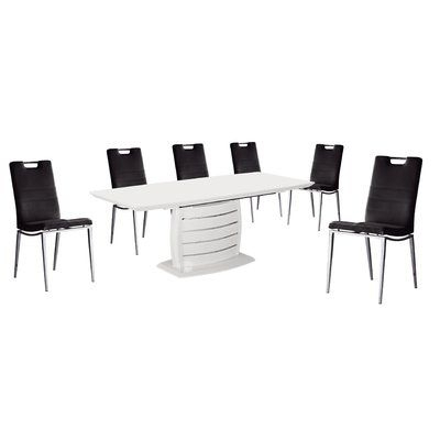 Wade Logan Kurt 7 Piece Dining Set Upholstery Color: | Products In Logan 7 Piece Dining Sets (View 24 of 25)
