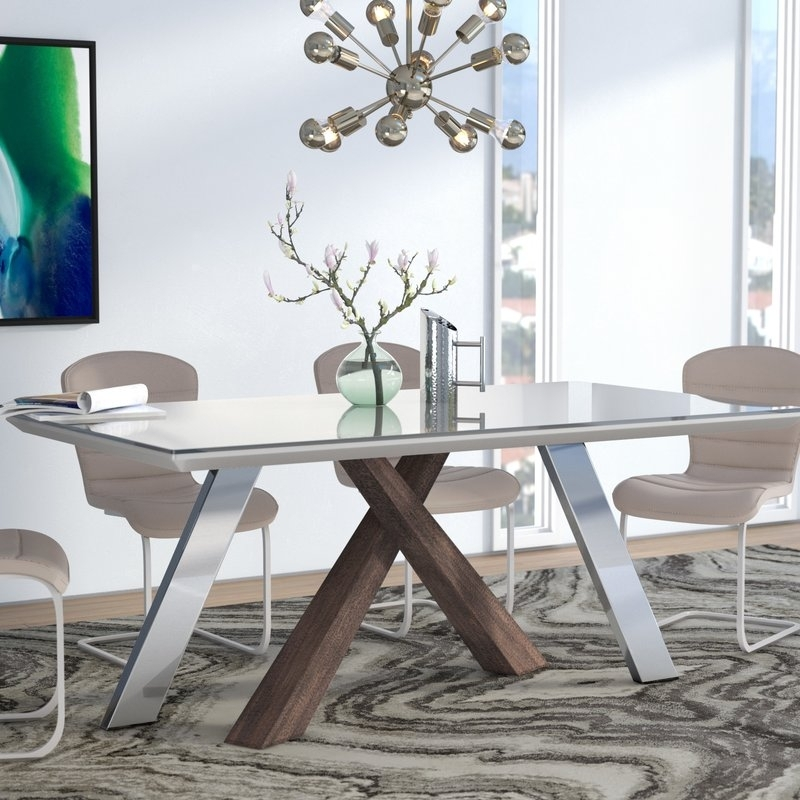 Wade Logan Link Dining Table & Reviews | Wayfair Inside Grady Round Dining Tables (Image 25 of 25)