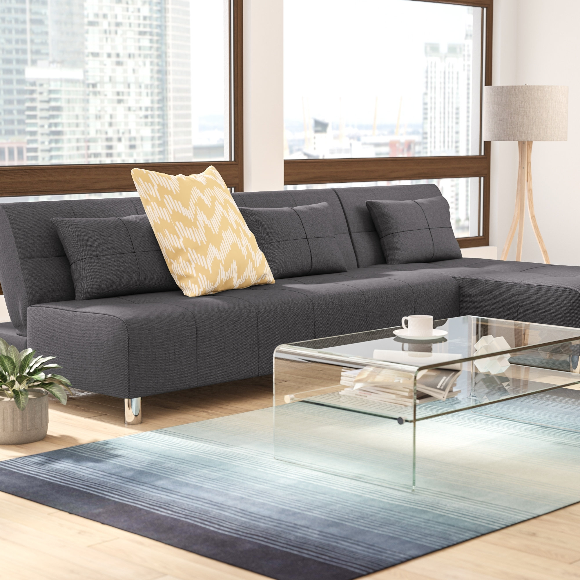 Wade Logan Ricardo Reversible Sleeper Sectional & Reviews | Wayfair Within Collins Sofa Sectionals With Reversible Chaise (View 12 of 25)
