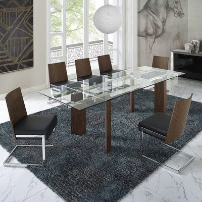 Wade Logan Victoria 6 Piece Dining Set Upholstery Color: Black Intended For Logan 6 Piece Dining Sets (Image 24 of 25)
