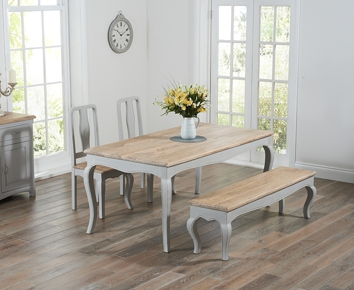 Walcott Oak And Grey 175Cm Dining Set With 2 Chairs And Bench Throughout Dining Tables And 2 Chairs (Image 24 of 25)