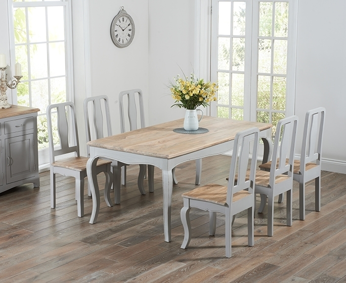 Walcott Oak And Grey 175Cm Dining Set With 6 Chairs Pertaining To Oak Dining Tables With 6 Chairs (View 24 of 25)