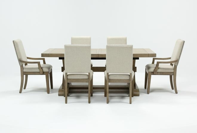 Walden 7 Piece Extension Dining Set | Living Spaces Regarding Walden Extension Dining Tables (Image 19 of 25)