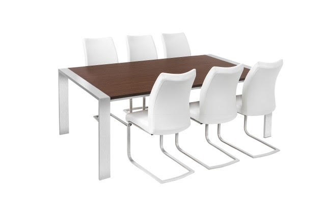 Walnut & Brushed Steel Dining Table & 6 Chairs In Brushed Steel Dining Tables (View 18 of 25)