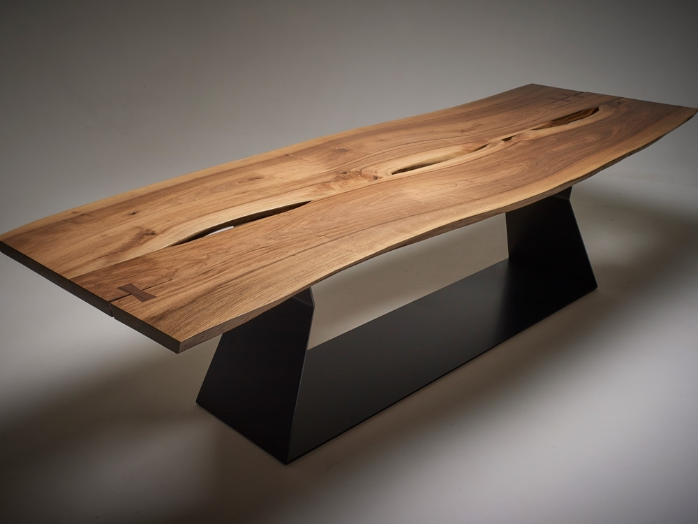 Walnut Dining Table | Geometric Steel Base | | Wicked Mata Inside Walnut Dining Tables (Image 19 of 25)