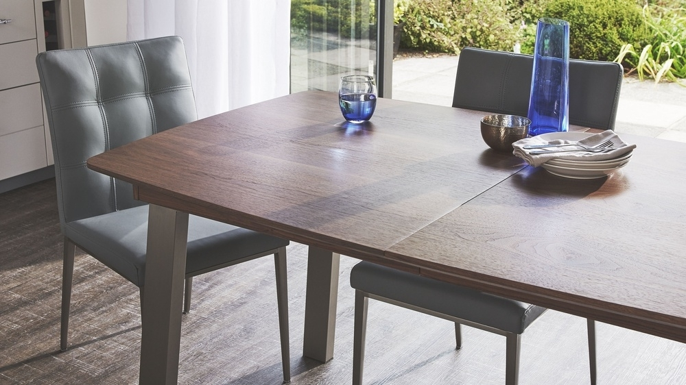 Walnut Extending Table And Leather Dining Chair Set | Uk Regarding Extending Dining Sets (View 10 of 25)