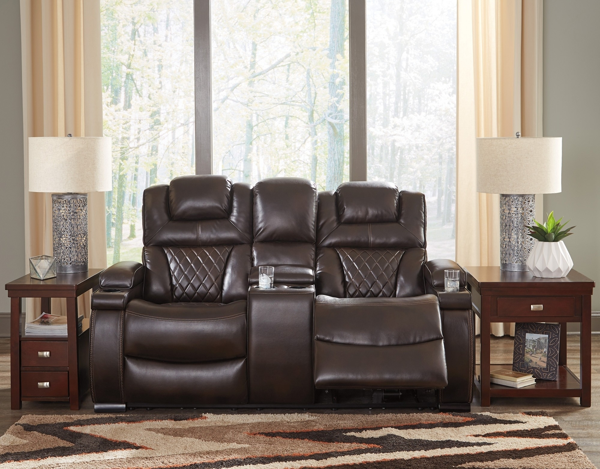 Warnerton Chocolate Power Reclining Loveseat With Console And Regarding Kristen Silver Grey 6 Piece Power Reclining Sectionals (Image 25 of 25)
