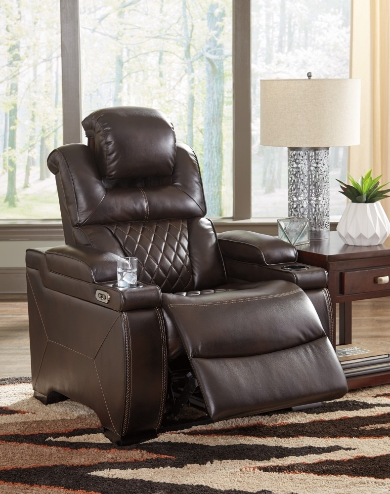 Warnerton – Chocolate – Pwr Recliner/adj Headrest | 7540713 | Power With Norfolk Chocolate 6 Piece Sectionals (View 25 of 25)