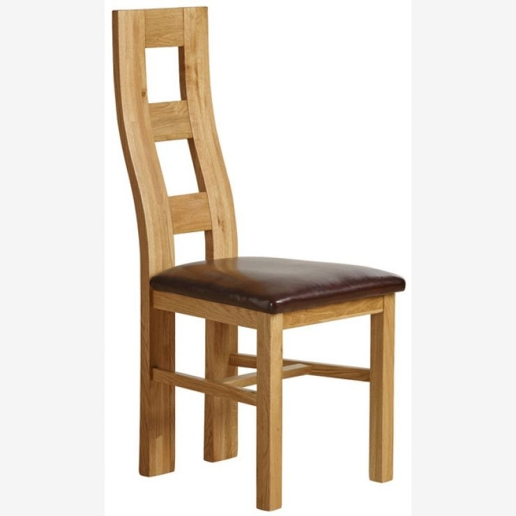 Wave Back Dining Chair In Natural Oak – Brown Leather In Real Leather Dining Chairs (Image 25 of 25)