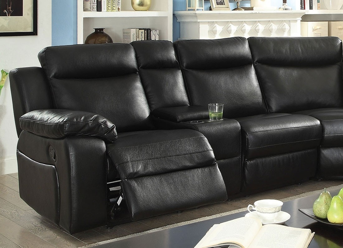 Waylon Recliner Sectional Black Leather In Waylon 3 Piece Power Reclining Sectionals (View 11 of 25)