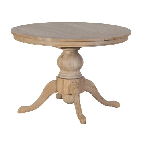 Weathered Oak Round Extending Dining Table For Circular Oak Dining Tables (Image 23 of 25)