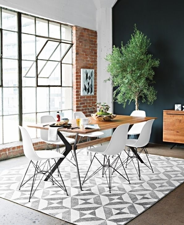 Weaver Dining Table + White Alexa Side Chairs (Image 18 of 25)