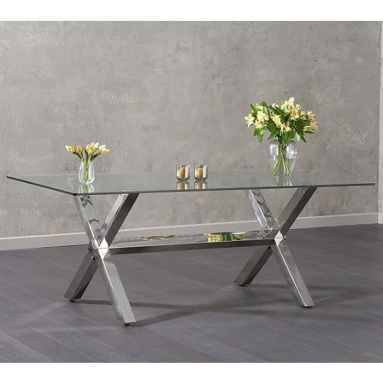 Weaver Glass Dining Table In Clear With Stainless Steel Inside Weaver Ii Dining Tables (View 8 of 25)