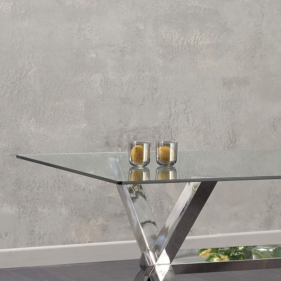 Weaver Glass Dining Table In Clear With Stainless Steel With Regard To Weaver Ii Dining Tables (Image 21 of 25)