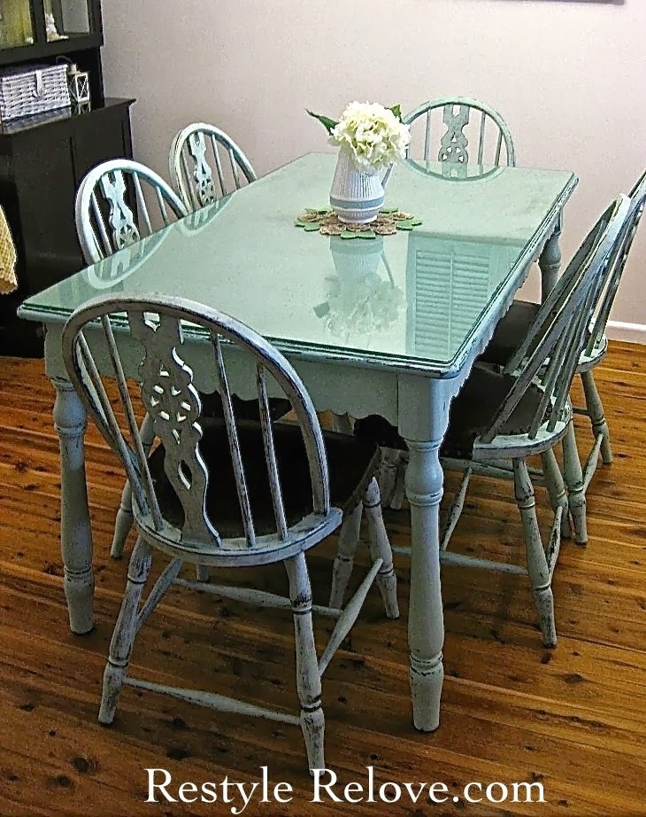 Wednesday's Projects Past – Farmhouse Style Vintage Green Dining For Green Dining Tables (View 3 of 25)