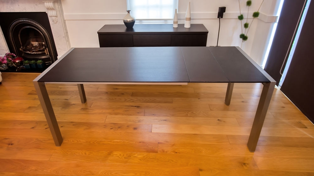 Wenge Dark Wood Extending Dining Table | Brushed Metal Legs | Seats 8 Throughout Brushed Metal Dining Tables (Image 24 of 25)